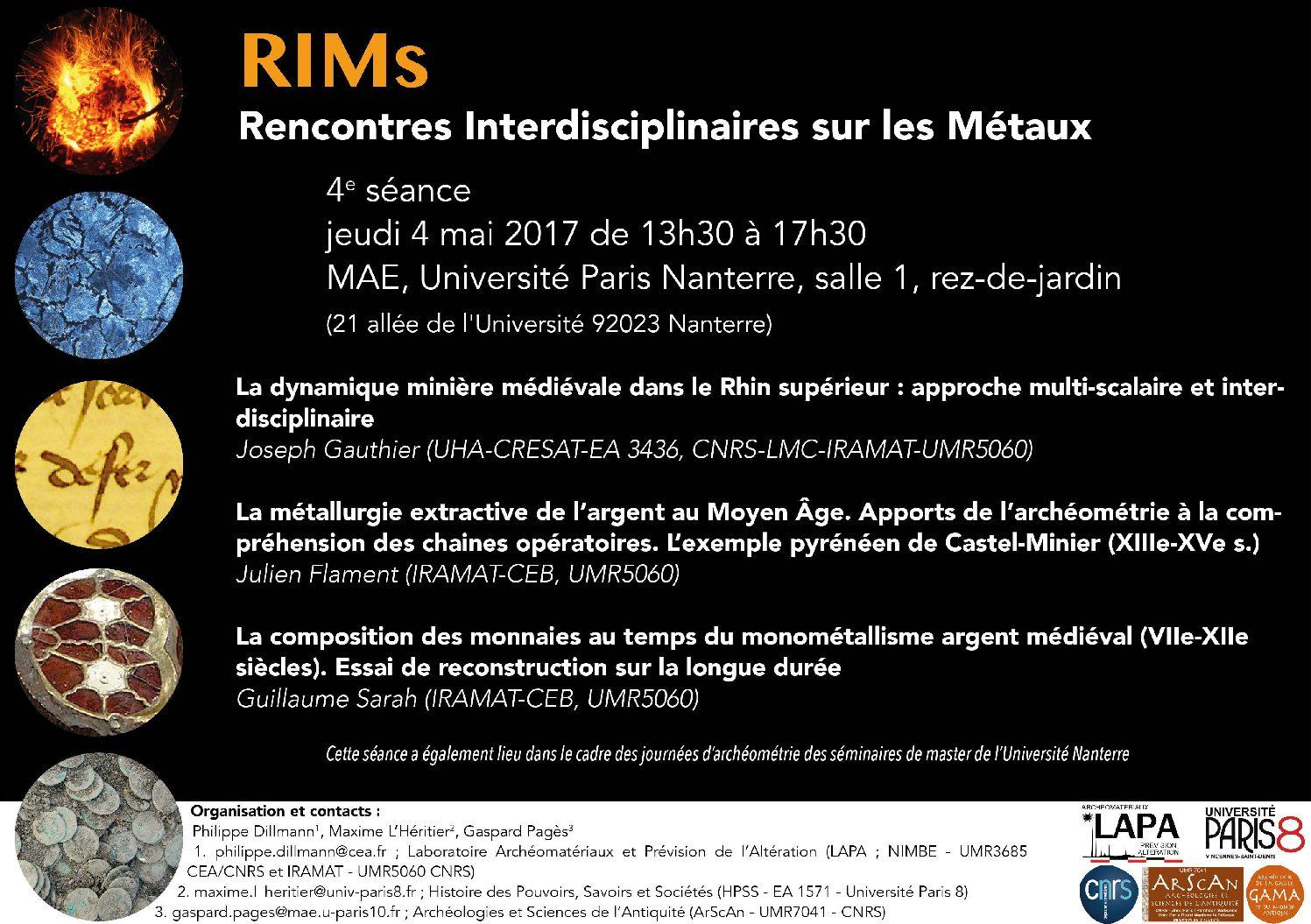 Rencontres Interdisciplinaires sur les Métaux (RIMs) – jeudi 4 mai 2017